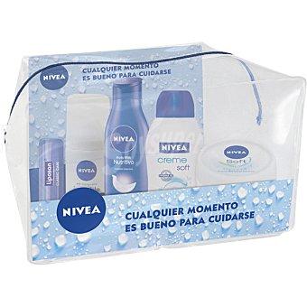 NIVEA Pack de viaje con loción corporal nutritiva + crema cara y cuerpo tarro 50 ml + gel de baño creme soft frasco 50 ml + desodorante invisible 35 ml + liposan 1 pack