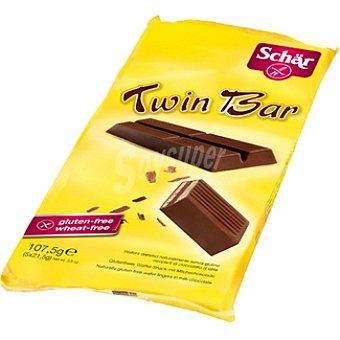 SCHAR Twin Bar Barquillo cubierto de chocolate con leche 5 unidades envase 108 g 5 unidades