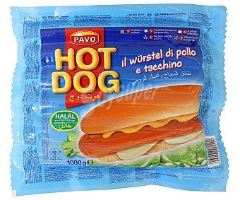 Salchichas tipo Frankfurt de pollo y pavo HOT DOG 1 kg
