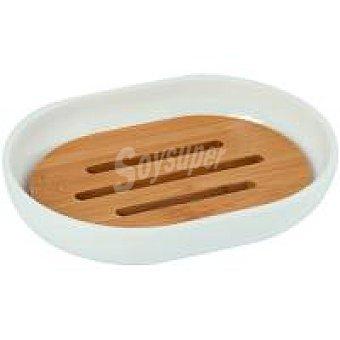 Msv Jabonera para baño blanca de polipropileno y bambú 12,5 x 9,5 x 2,5 cm
