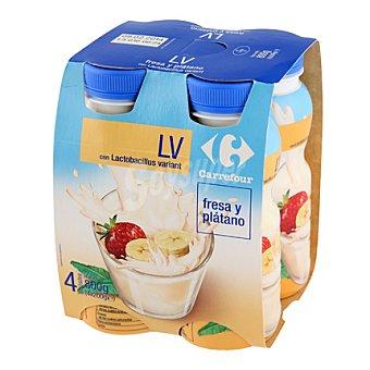 Carrefour Yogur líquido LV fresa y plátano Pack 4x200 g