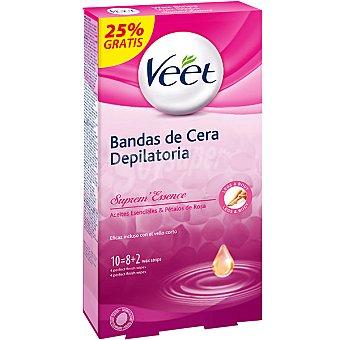 VEET Suprema Essence Bandas de cera depilatoria con Aceites Esenciales y Pétalos de Rosa caja 8 unidades Caja 8 unidades