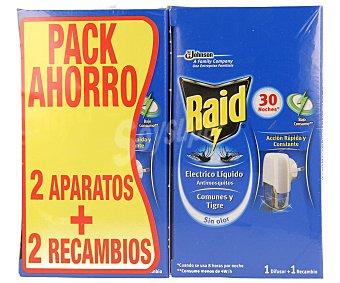 Raid Insecticida eléctrico antimosquitos comunes y tigre 2 aparatos + 2 recambios