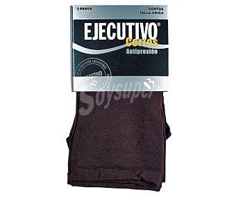 EJECUTIVO Pack de 3 pares de calcetines cortos, 40 den, antipresión,, color granate, talla única Pack de 3