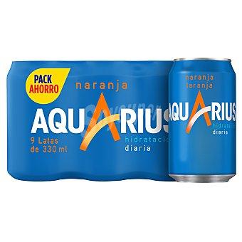 Aquarius Bebida isotónica de naranja Pack 9 latas x 33 cl