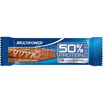 Multipower Barrita 50% proteína baja en azúcares sabor chocolate y crema envase 50 g Envase 50 g