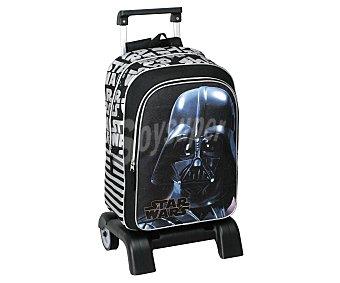 STAR WARS Mochila infantil con carro desmontable, asas reforzadas, amplio bolsillo frontal con cierre de cremallera e imagen del carismático Darth Vader 1 unidad