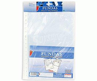 Auchan Bolsa de 25 fundas transparentes de tamaño folio, lomo reforzado y 11 taladros auchan 25u