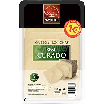 NAVIDUL Queso en lonchas semicurado 5 lonchas Envase de 80 g