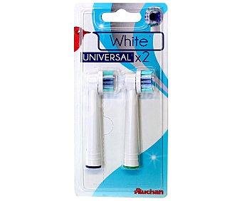 Auchan Recambio de cepillo dental white, Efecto Blanqueante, 2 Unidades, compatible: Qilive, Braun Oralb, 2u