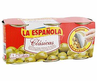 La Española Aceitunas rellenas de anchoa  Pack 3x50 g neto escurrido