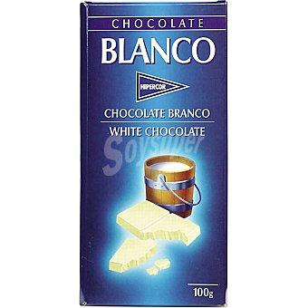 Hipercor chocolate blanco  tableta 100 g