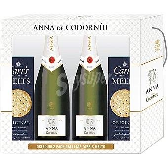 ANNA DE CODORNIU cava brut con regalo de 2 pack galletas Carr's Melt Estuche 2 botellas 75 cl