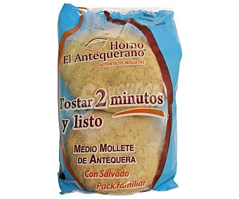 EL ANTEQUERANO Medio mollete de antequera con salvado (tostar 2 minutos y listo) 4 unidades (280 g)