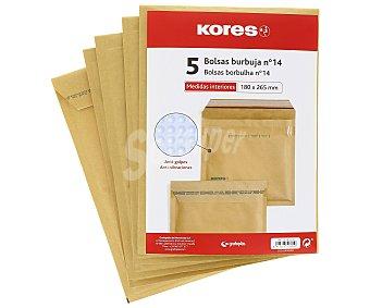 Kores 5 sobres de papel Kraft tamaño 180 x 265mm color marrón, con burbujas del número 14 kores