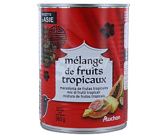 Auchan Macedonia de frutas tropicales en almíbar Pack de 3 unidades de 137 gramos