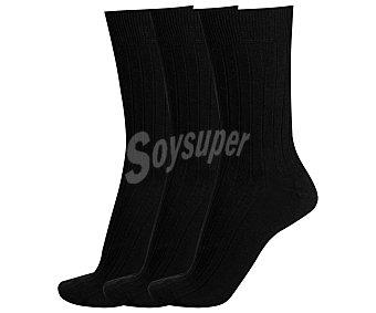 Don posets Pack de 3 pares de calcetines clásicos canale con puño antipresión, color negro, talla única Pack de 3