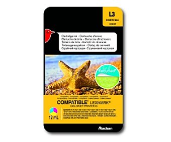 Auchan Cartucho Color N°26/27 (L3) - Compatible con impresoras: lexmark X 74 / 75 / 1100 / 1130 / 1150 / 1160 / 1170 / 1180 / 1182 / 1190 / 1210 / 1270 / 1290 / 2200 / 2230 / 2250 - lexmark Z 13 / 23 / 24 / 25 / 27 / 33 / 34 / 35 / 378 / 510 / 513 / 515 / 517 / 600 / 601 / 602 / 604 / 610 / 612 / 615 / 617