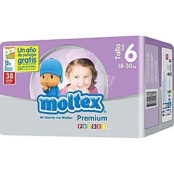 Moltex Premium pañales de 18 a 30 kg talla 6 envase 38 unidades 6 envase 38 unidades