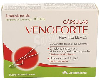 VENOFORTE Complemento alimenticio a base de extractos de uva, limón, rusco, reina de los prados y vitamina B2 para piernas leves, ayuda a la circulación de las piernas y a reducir la sensación de pesadez 30 capsulas
