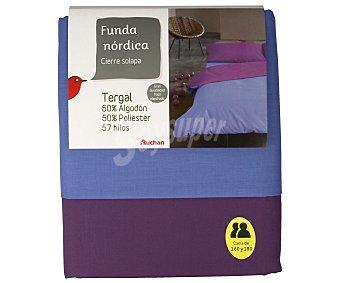 Auchan Funda bicolor azul para edredón nórdico de 160/180 centímetros, 260x240 centímetros 1 unidad