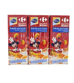 Carrefour Kids Bebida de naranja, plátano, leche y galleta Pack de 3
