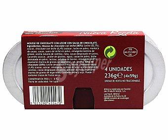 LA LECHERA Mousse de chocolate con leche  pack 4 unidades 59 g