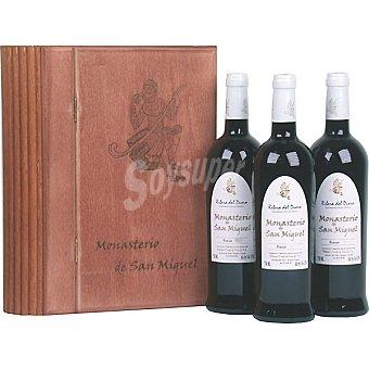 Monasterio San Miguel Vino tinto reserva D.O. Ribera del Duero estuche libro de madera 3 botellas 75 cl