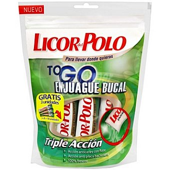 Licor del polo Enjuague bucal triple acción To Go de 15 ml Bolsa 7 unidades