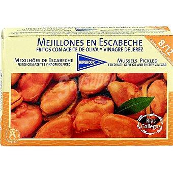 HIPERCOR mejillones en escabeche fritos con aceite de oliva al vinagre de Jerez 8-12 piezas  lata 69 g neto escurrido