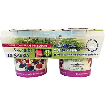 Señorio de Sarria Yogur con frutas del bosque sin aditivos Pack 2 unidades 125 g