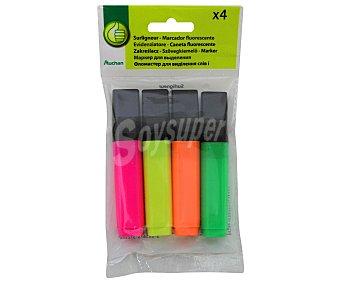 Productos Económicos Alcampo Lote de 4 marcadores fluorescentes con punta biselada y de colores amarillo, naranja, rojo y verde 1 unidad