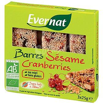 EVERNAT Barritas de sésamo y arándanos sin gluten y ecológicas 3 unidades envase 75 g Pack de 3x25 g
