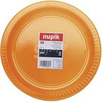 Nupik Plato 22 cm naranja Pack 10 unid