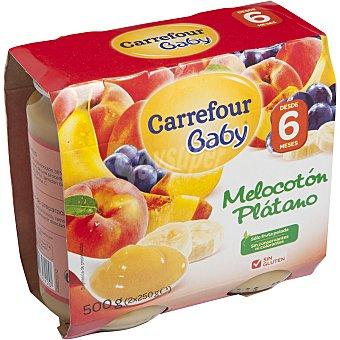 Carrefour Baby Tarrito melocotón y plátano Pack 2x250 g