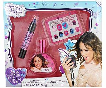 Disney Violetta, Set de belleza compuesto por sombra de ojos en lápiz, adhesivos para uñas y colonia fresca con vaporizador 30 mililitros