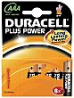 Pilas alcalinas plus power AAA LR03 8 Unidades Duracell