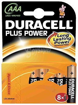 Duracell Pilas alcalinas plus power AAA LR03 8 Unidades