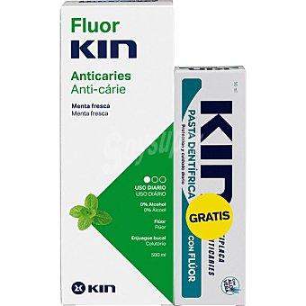 Acción Fluor·kin Antiacaries enjuague bucal antiplaca aliento fresco 0% alcohol con regalo de pasta dentífrica con flúor 500 ml