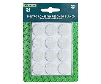 RAIA Fieltro Adhesivo Redondo Doble y Blanco de Diámetro 22 Milímetros y Grosor de 3 Milímetros. 1 Unidad