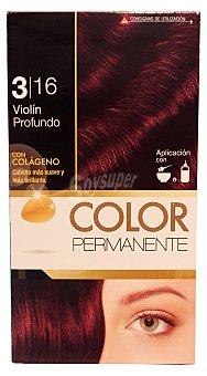 COLOR PERMANENTE Tinte coloración permanente Nº 3,16 violín profundo (contiene colágeno para hidratar) 1 unidad