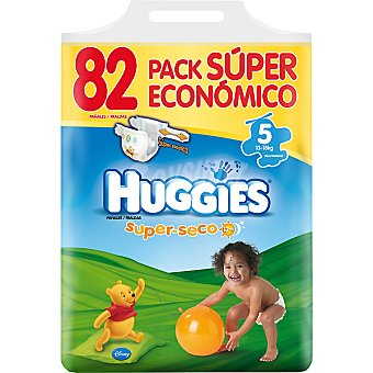 HUGGIES SUPERSECO Pañales de 13 a 18 kg talla 5 super elástico pack ahorro Bolsa 82 unidades