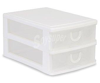 ARAVEN Torre de ordenación modelo Mobel Kit con 2 cajones bajos, fabricada en plástico de color blanco translúcido 1 Unidad