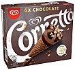 Conos de helado de chocolate, con trocitos de chocolate blanco 6 x 90 ml Cornetto Frigo