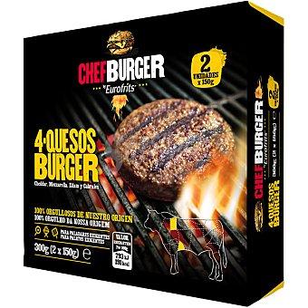 Chefburger Hamburguesa de vacuno 4 quesos estuche 300 g 2 unidades
