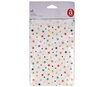 Actuel Bolsas de plástico para golosinas con estampado de estrellas, 6 unidades, ACTUEL. 6 unidades