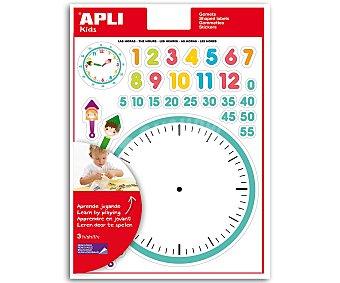 APLI Hoja de gomets adhesivos y removibles con motivos de los componentes de un reloj. Ideales para que los niñ@s aprendar las horas de una forma divertida 3 unidades