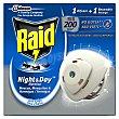 Insecticida eléctrico antimosquitos night & DAY 1 difusor y 1 recambio Caja 2 u Raid