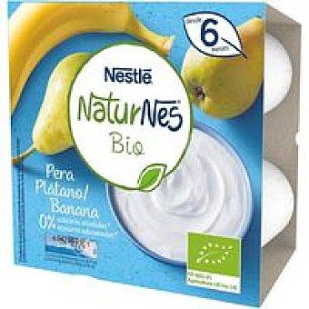 Naturnés Nestlé Postre lácteo de plátano-pera BIO Pack 4 x 90 g