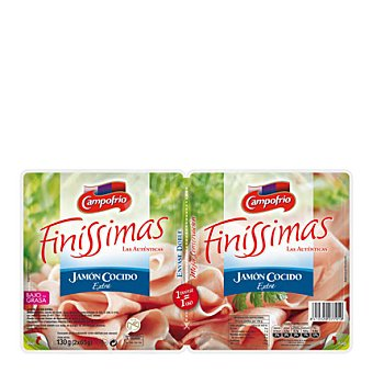 Campofrío Finissimas Jamón cocido al vapor 'finissimas' Pack de 2x65 g